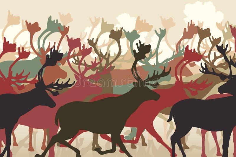 驯鹿牧群 皇族释放例证