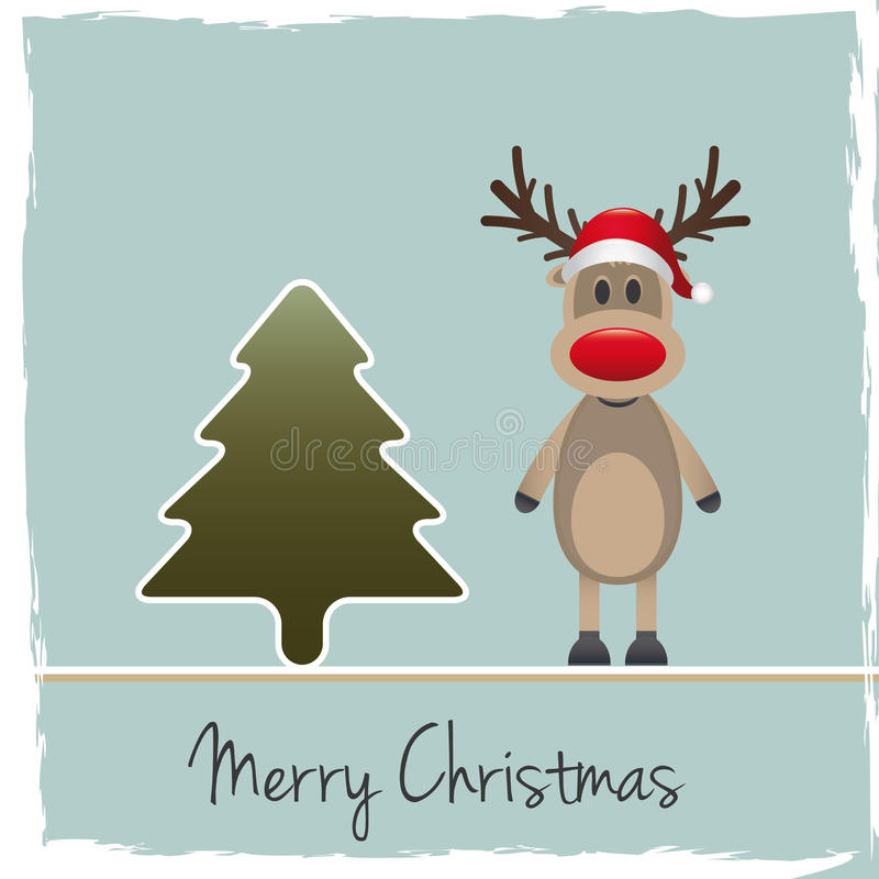 驯鹿红色鼻子圣诞老人帽子 向量例证
