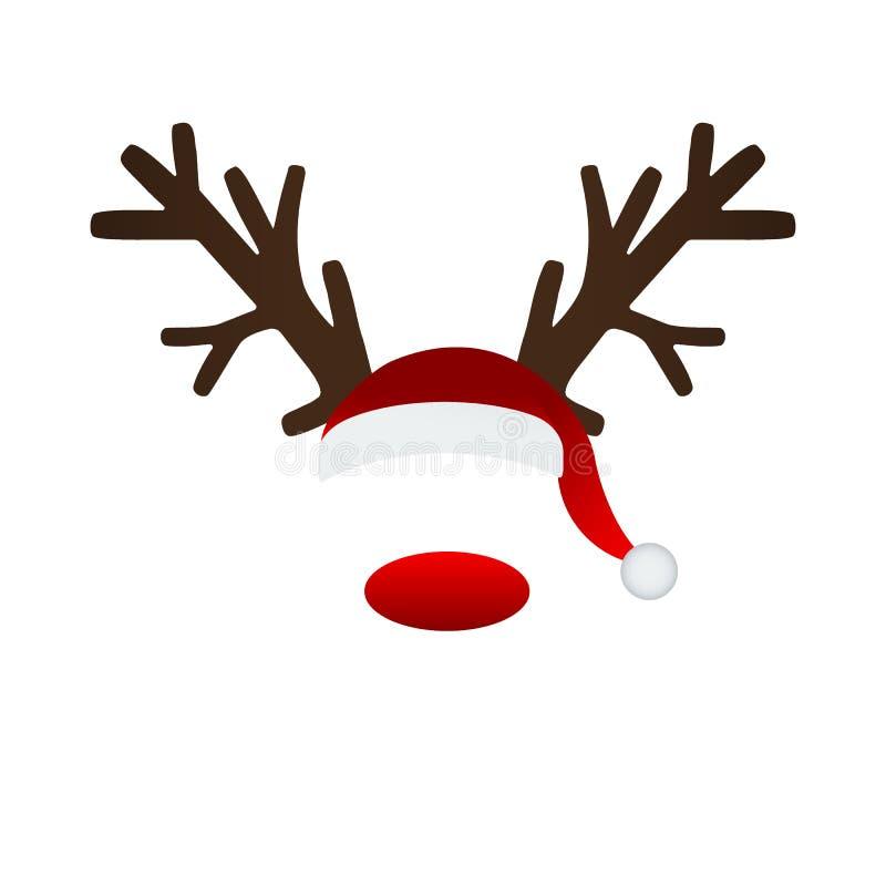 驯鹿鹿角和圣诞老人帽子 向量例证