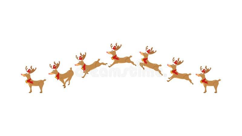 驯鹿,赛跑,跳跃,动画,卡通人物移动 向量例证