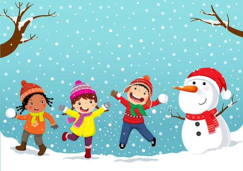 驱动乐趣爬犁冬天 使用在雪的愉快的孩子 向量例证