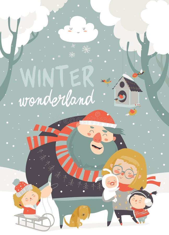 驱动乐趣爬犁冬天 幸福家庭在寒假 库存例证