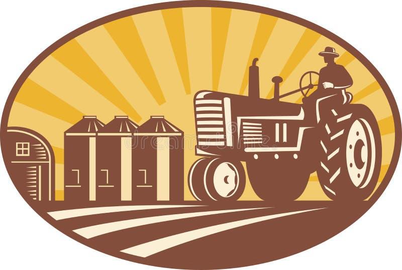 驱动农夫减速火箭的拖拉机葡萄酒木刻 库存例证