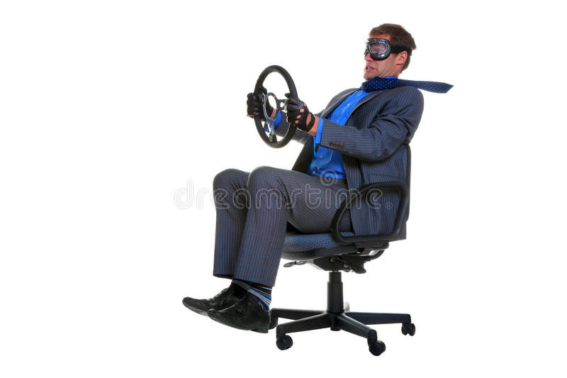 驱动办公室的生意人椅子 图库摄影