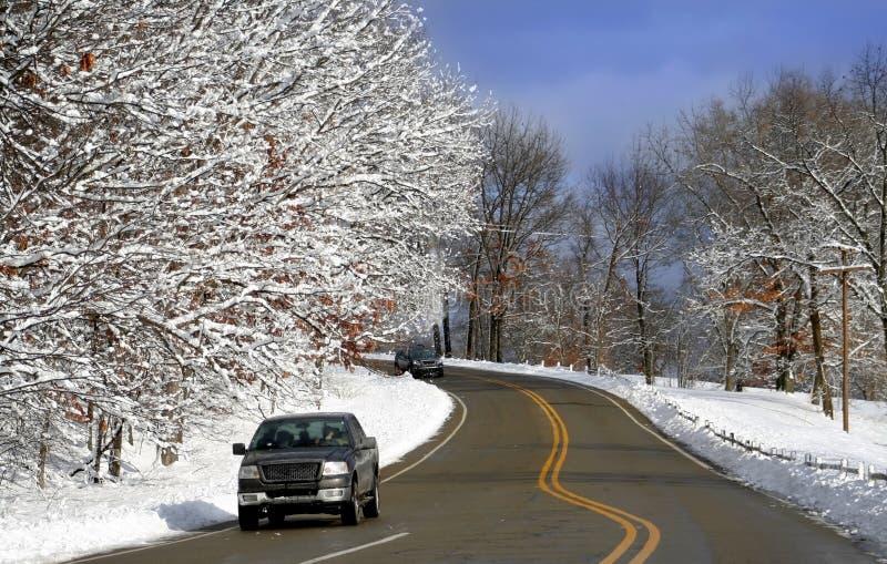 驱动风景冬天 库存照片