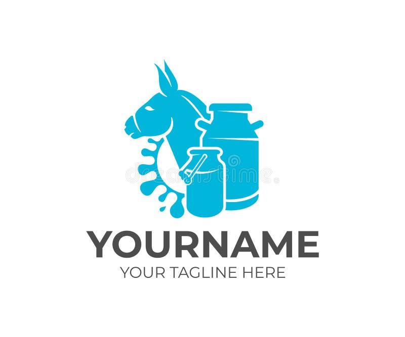 驴、牛奶罐头和飞溅牛奶,商标设计 奶牛场、牛奶农场,畜牧和牧业,传染媒介设计 库存例证
