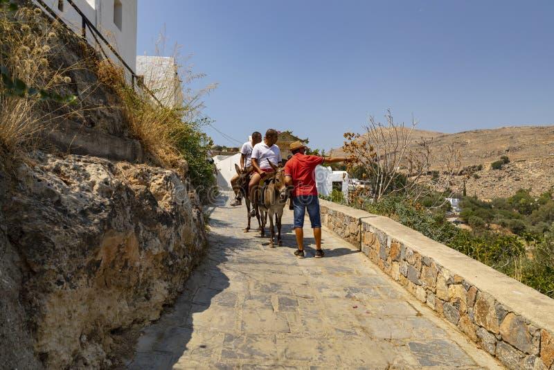 驴乘驾在Lindos村庄在罗得岛希腊 库存图片