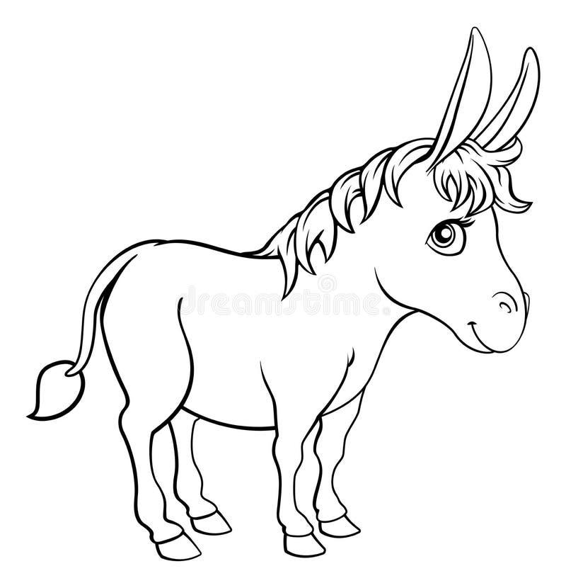 驴动物卡通人物 库存例证