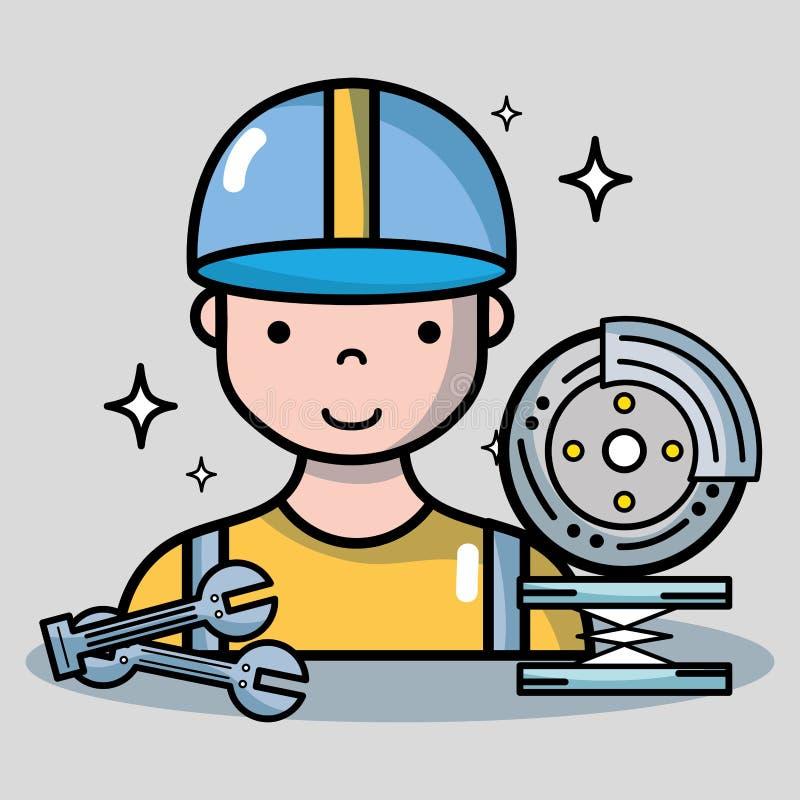 驻防与技工的服务修理汽车 向量例证