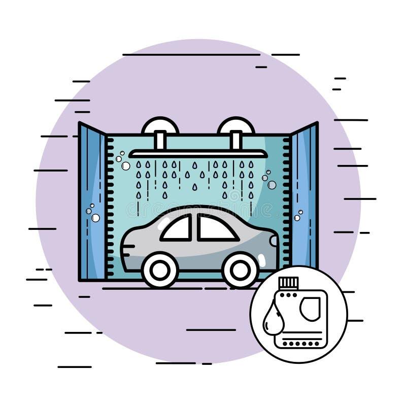 驻防与技工的服务修理汽车 库存例证