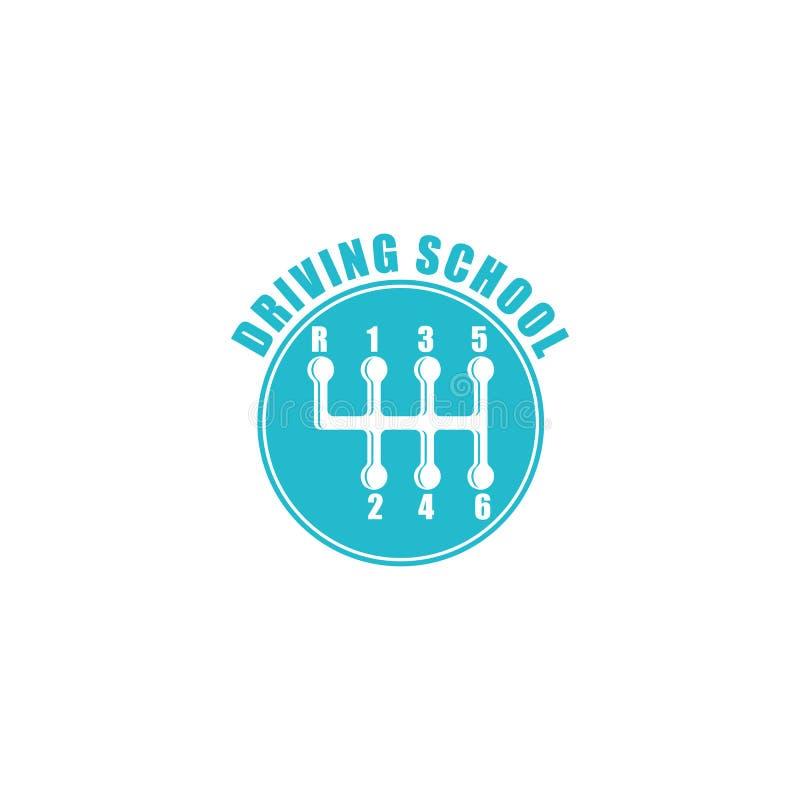 驾校商标,六个变速杆瘤蓝色象征,自动象 皇族释放例证