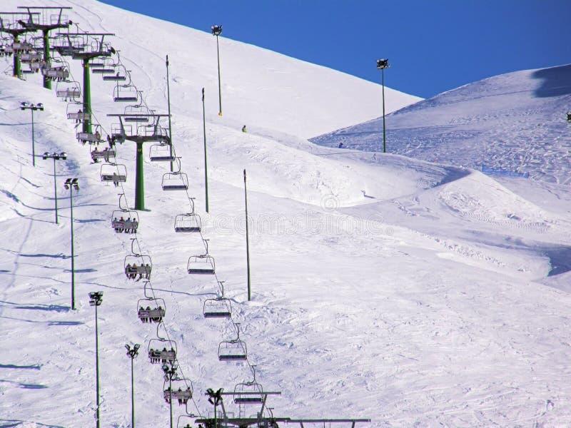 驾空滑车冬天 免版税库存图片