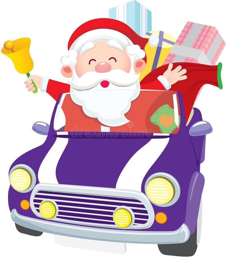 驾车圣诞老人 库存例证