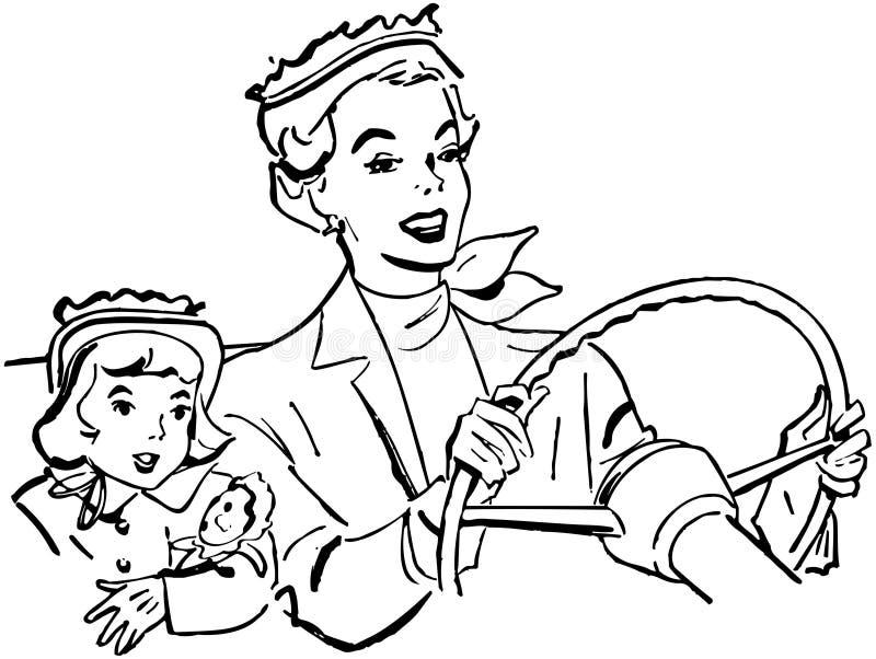 驾驶与女儿的母亲 库存例证