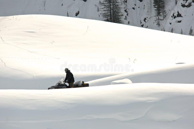 驾驶体育的人在一个晴天乘雪上电车 库存图片