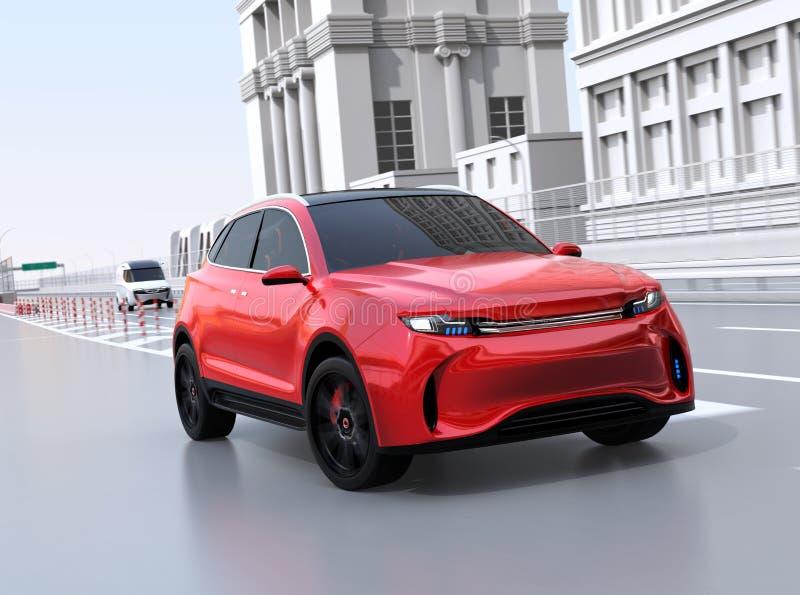 驾驶入高速公路主要车道的红色SUV 向量例证