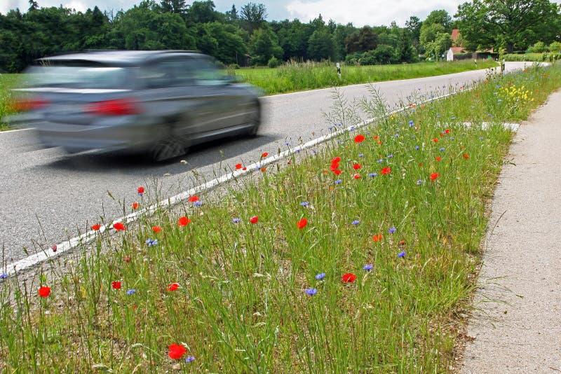 驾驶在乡下公路的汽车,在行动unsharpness 免版税库存照片