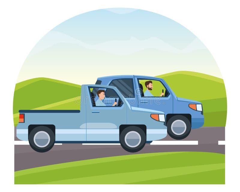 驾驶在交通的人们车 库存例证