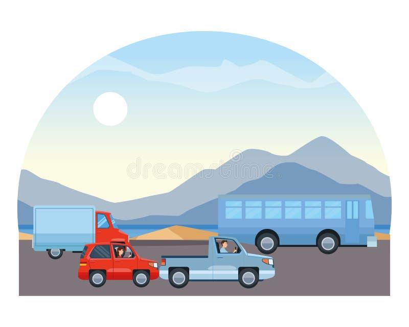 驾驶在交通的人们车 皇族释放例证