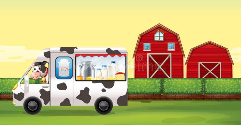 驾驶在农场的母牛牛奶卡车 库存例证
