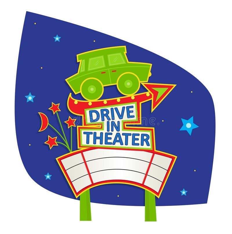 驾驶在剧院标志 向量例证