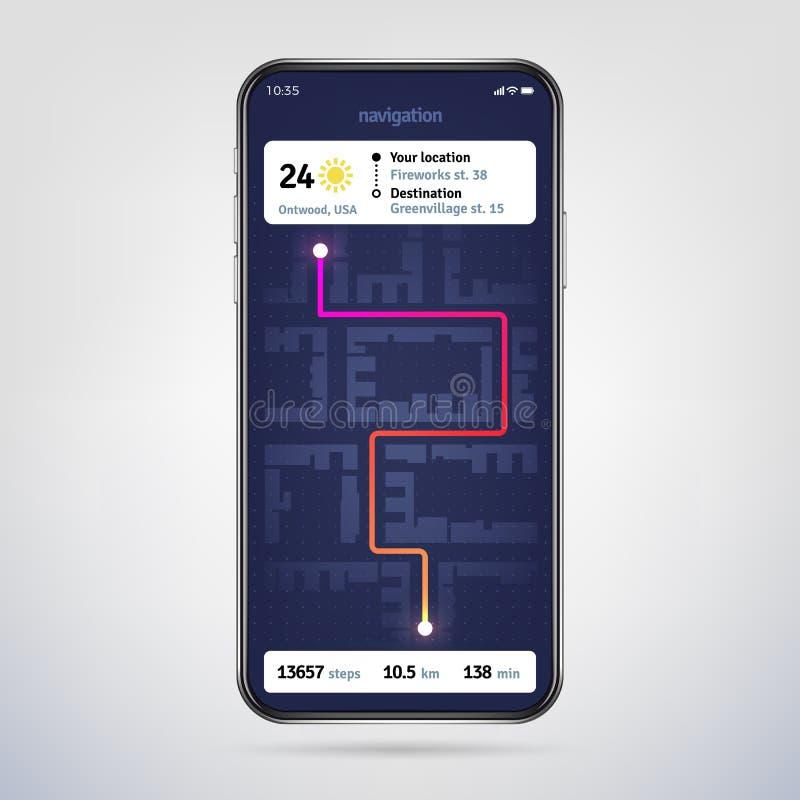 驾驶在城市地图 网上导航员app Gps在电话屏幕上的航海应用 传染媒介EPS 10 库存例证