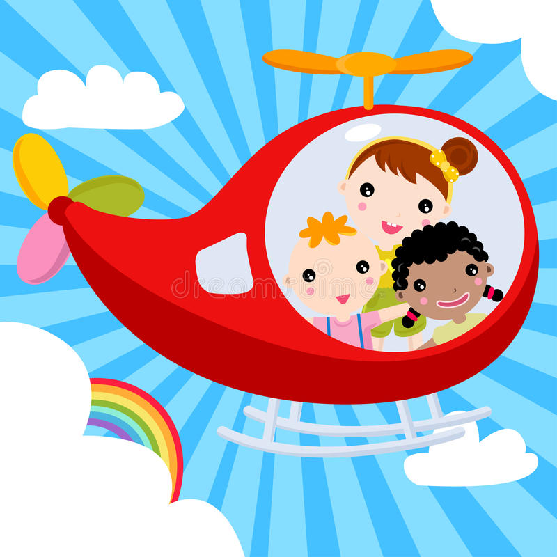 驾驶在天空间的三个孩子一架飞机 库存例证