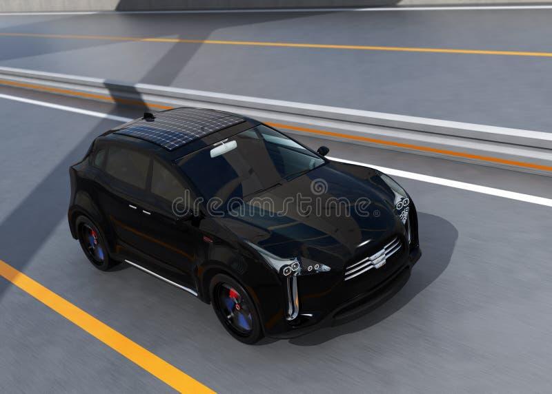 驾驶在弧桥梁的黑电SUV 皇族释放例证