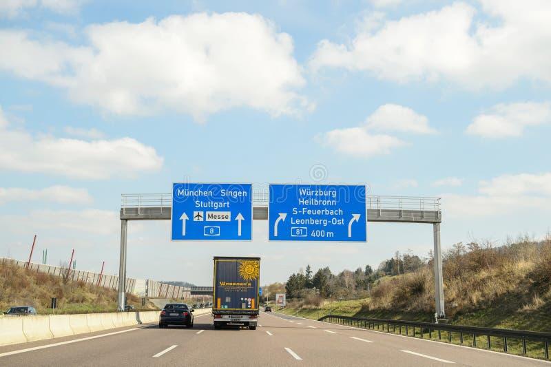 驾驶在德国高速公路 免版税库存图片