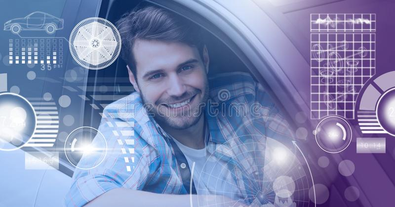 驾驶在有头的汽车的人显示接口 库存照片