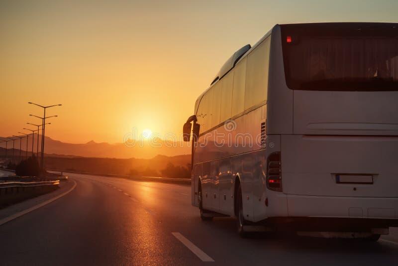 驾驶在柏油路的白色公共汽车 库存图片