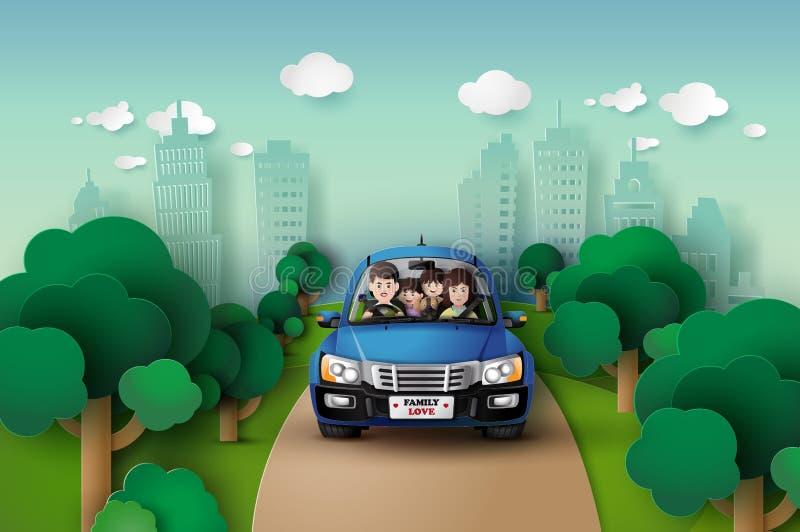 驾驶在汽车的家庭 库存例证