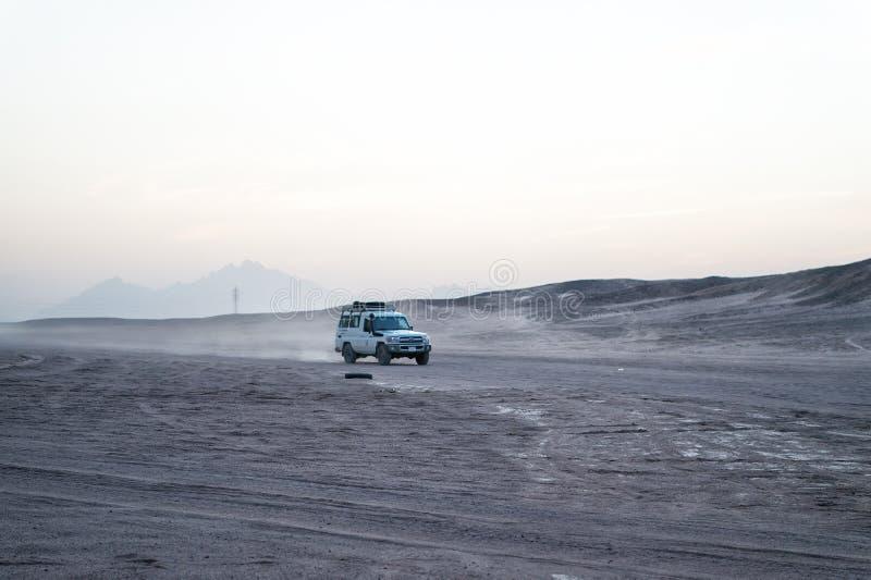 驾驶在沙漠,洪加达,埃及的汽车或吉普 库存照片