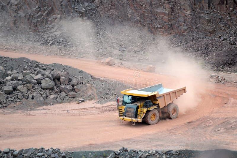 驾驶在猎物矿的土路的倾销者卡车 免版税库存图片
