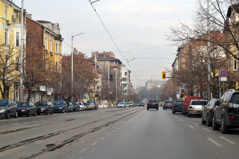 驾驶在索非亚附近,保加利亚的首都 图库摄影