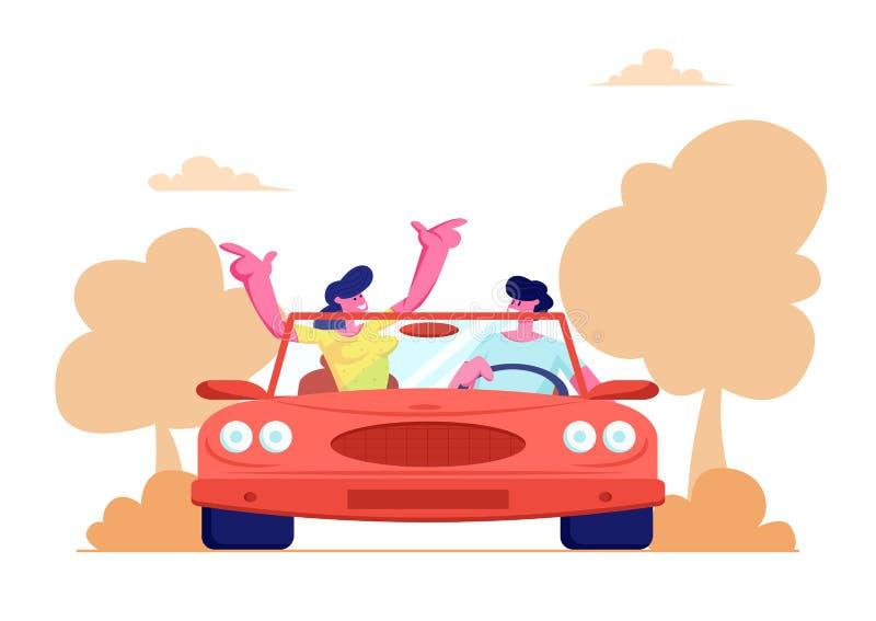 驾驶在自然风景背景的愉快的夫妇红色敞蓬车汽车 旅行在敞篷车机器的年轻人和妇女 库存例证