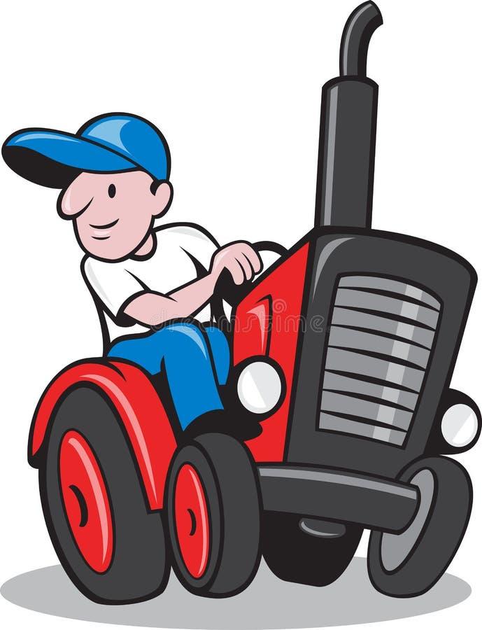 驾驶葡萄酒拖拉机动画片的农夫 向量例证