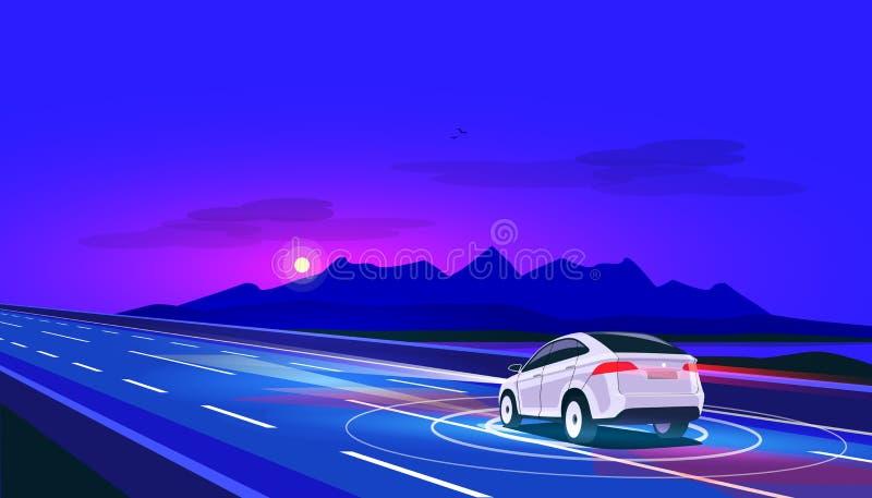 驾驶在路的巧妙的自治无人驾驶的电车在与山风景的晚上 库存例证