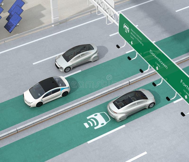 驾驶在高速公路的无线充电的车道的电车 向量例证