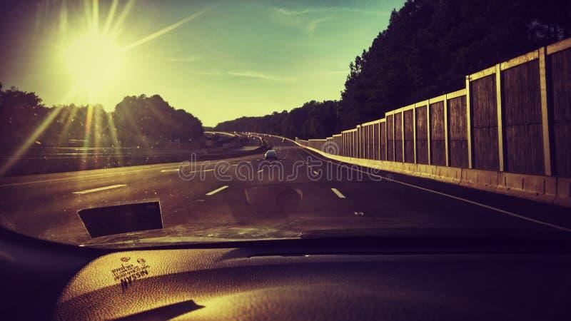 驾驶在高速公路 库存照片