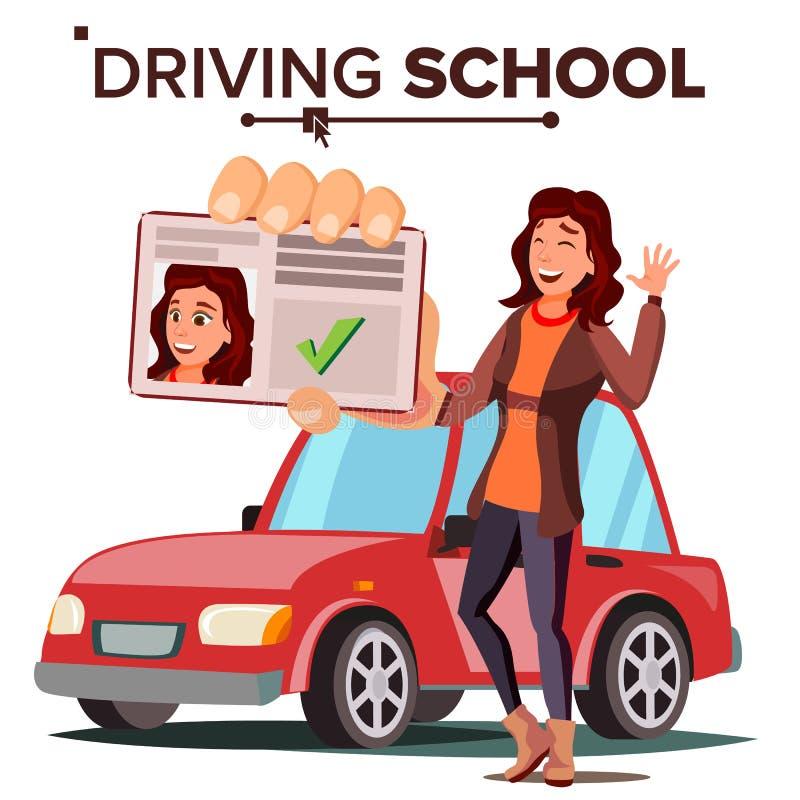 驾驶学校传染媒介的妇女 列车车箱 成功的通行证检查 驾照 被隔绝的平的例证 库存例证