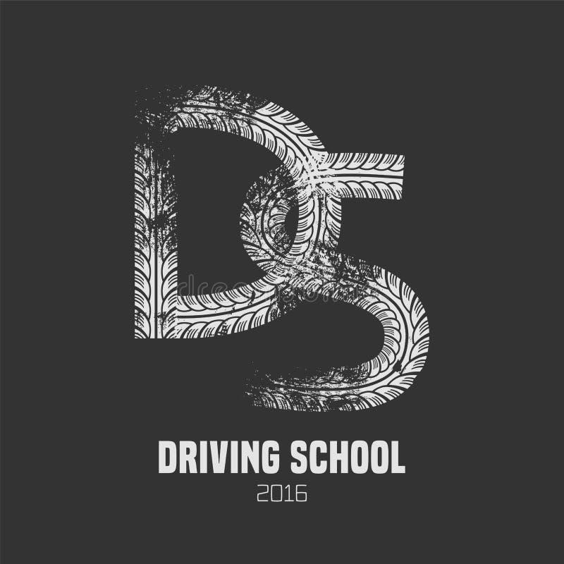 驾驶学校导航商标,标志,标志,象征 皇族释放例证