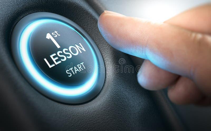 驾驶学校概念,一个完全初学者的第一个教训 向量例证