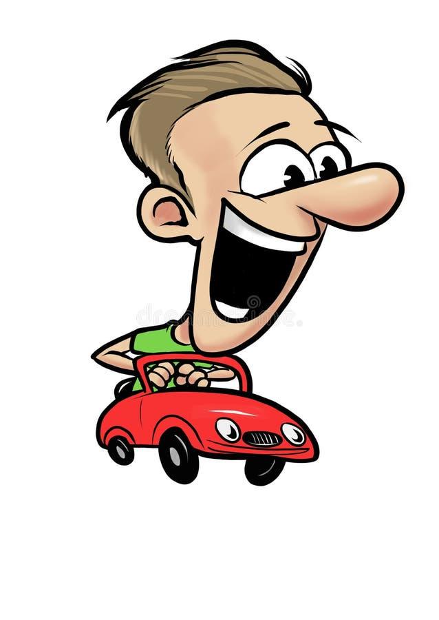 驾驶快速的红色减速火箭的汽车的年轻快乐的人 免版税库存照片