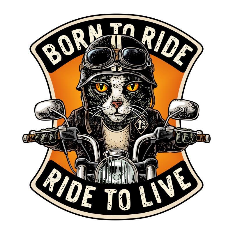 驾驶摩托车乘驾的猫 传染媒介葡萄酒板刻 库存例证