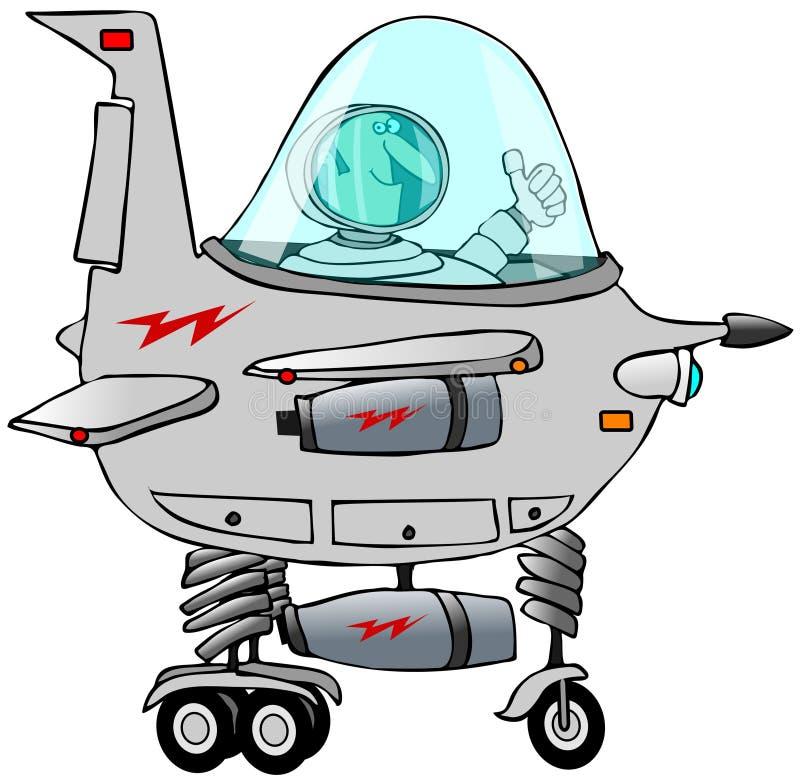 驾驶星船的人 向量例证