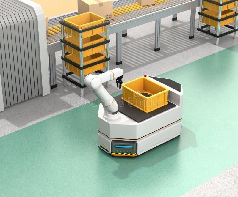 驾驶有机器人胳膊的自已AGV移动在传动机旁边 库存例证
