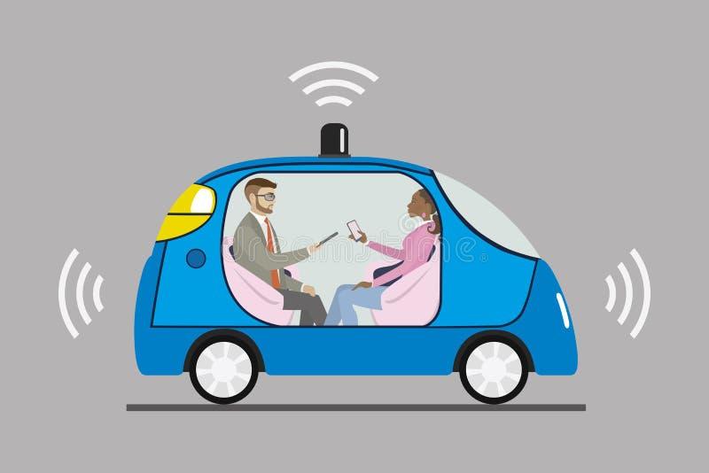 驾驶有男性和女性乘客的自已汽车 皇族释放例证