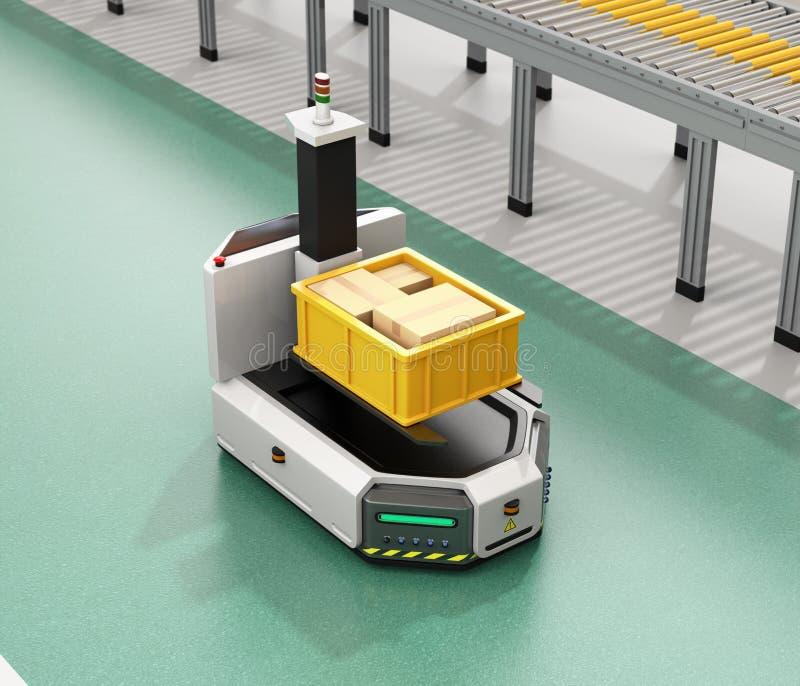 驾驶有铲车运载的容器箱子的自已AGV在传动机旁边 库存例证