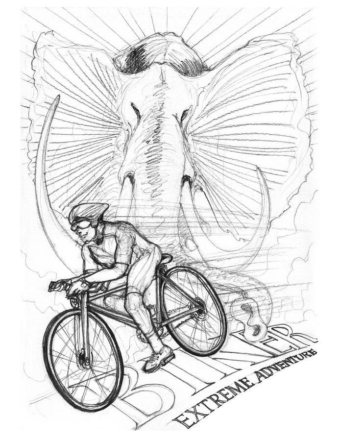 驾驶有非洲大象铅笔冲程图画的骑自行车的人自行车 向量例证